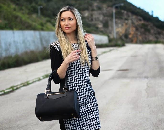 look do dia, ootd, outfit, look of the day, pied-de-coq, padrões, classic print, dress, vestido, pied-de-coq dress, leather, couro, ankle boots, botins, escarpins, pumps, new yorker, calvin klein, promod, accessorize, tendências, primavera verão 2014, dicas de imagem, consultoria de imagem, style statement, blog de moda, blogue de moda, blog de moda portugal, blogues de moda portugueses