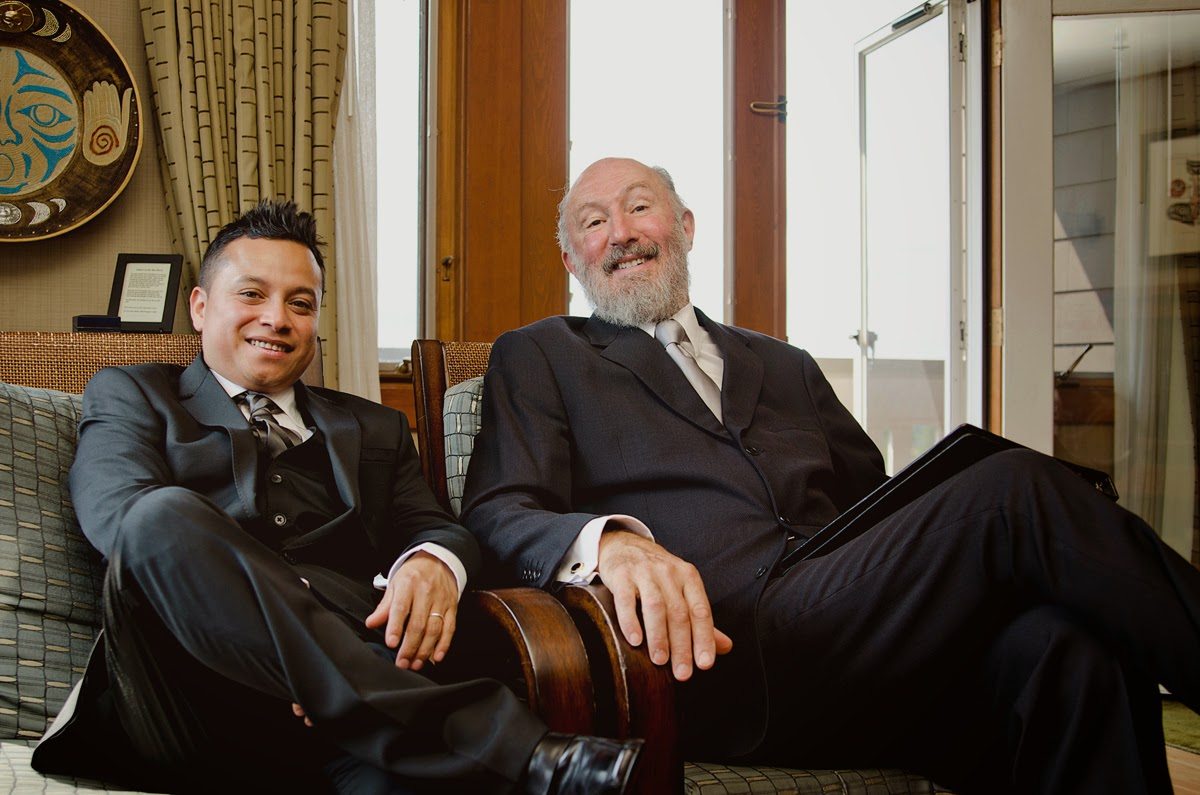 Luis, the groom, and Kent Buttars, Seattle Wedding Officiant, wait for the ceremony to begin.