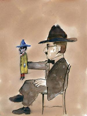 Fernando Pessoa com marioneta de Fernando Pessoa