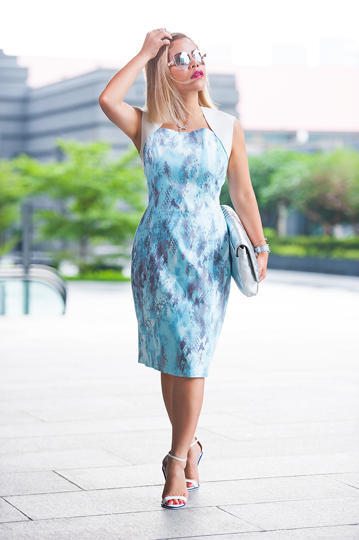 Crystal Phuong- Singapore Fashion Blogger in Elie Tahari blue and white dress