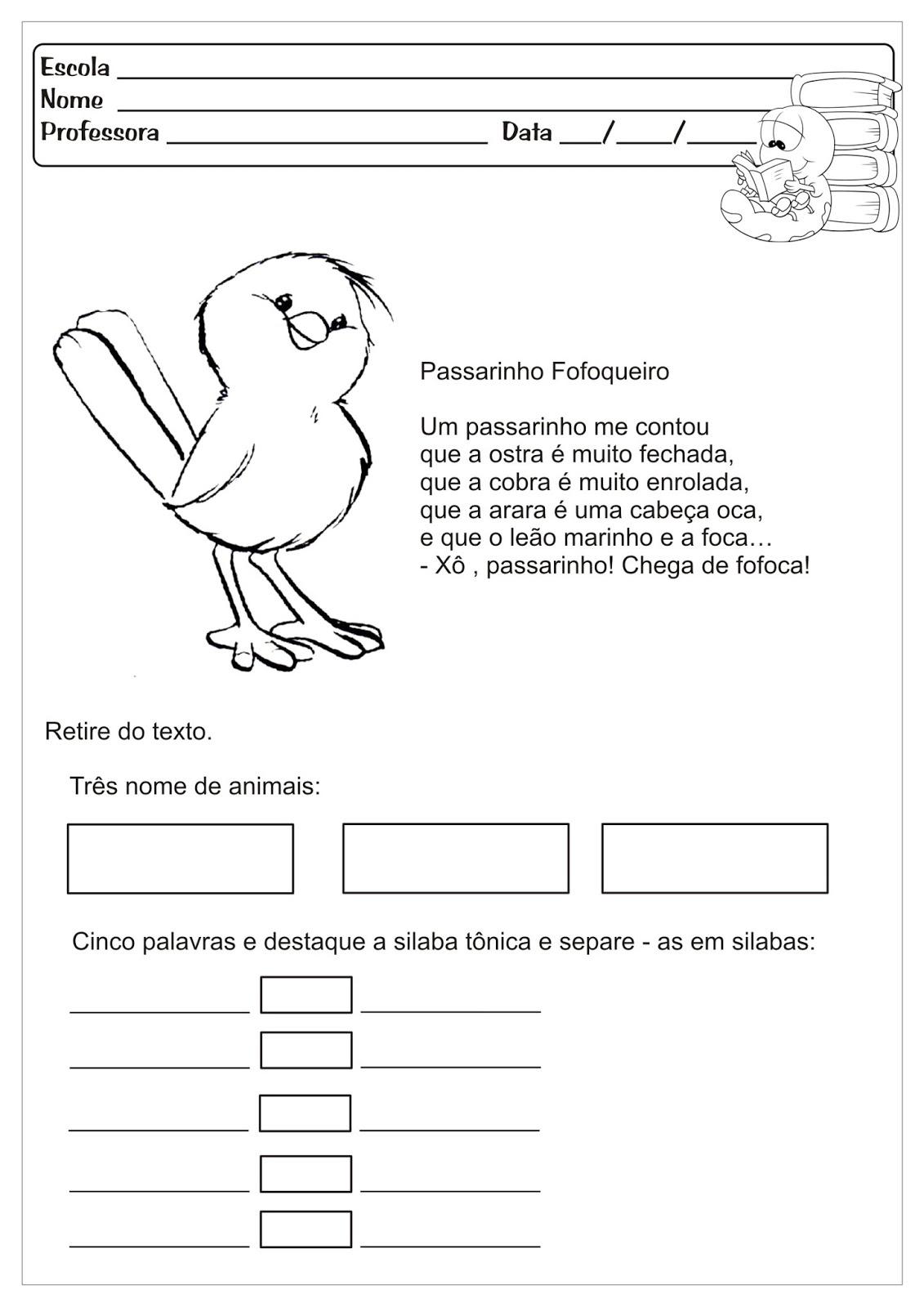 Atividades Educativas Sílabas Tônicas Língua Portuguesa para Ensino Fundamental