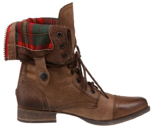 Boots feature a leather upper  zip at back  flannel detail on inner    Steve Madden Combat Boots Men