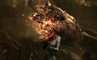 Burning Umbrella Dark Gothic Wallpaper