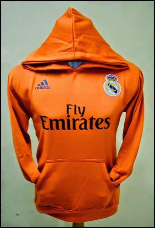 Jumper Hoodie Bola Polos (Satu Warna) - Real Madrid Orange