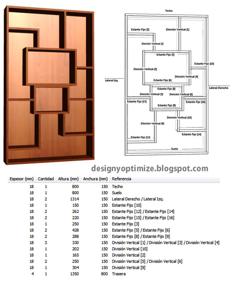 De Muebles Madera Mueble de Decoración con MDF Abstracto + Planos