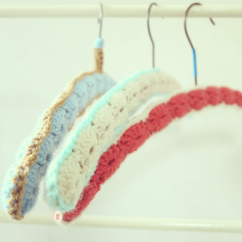 Crocheting On A Hanger : ByHaafner, crochet, shellstitch, cloth hangers, granny chic, pastel,