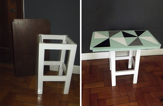 mesinha lateral, pintar madeira, grafismo, móvel com grafismo, madeira com grafismo, mesa colorida, mesa lateral, graphism
