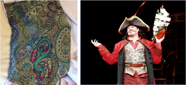 The brocade vest for  pirate chief Black Stache embellished with applique dragon motif and hand painted designs. And to the right, as worn by Mitchell Jarvis playing the dastardly dandy (photo by Jon Gardiner.)