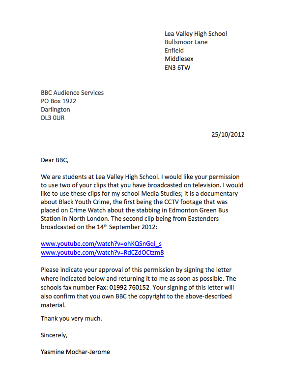 This Is The Letter Which I Have Written To Send BBC Asking For Permission Use Their Video Clips