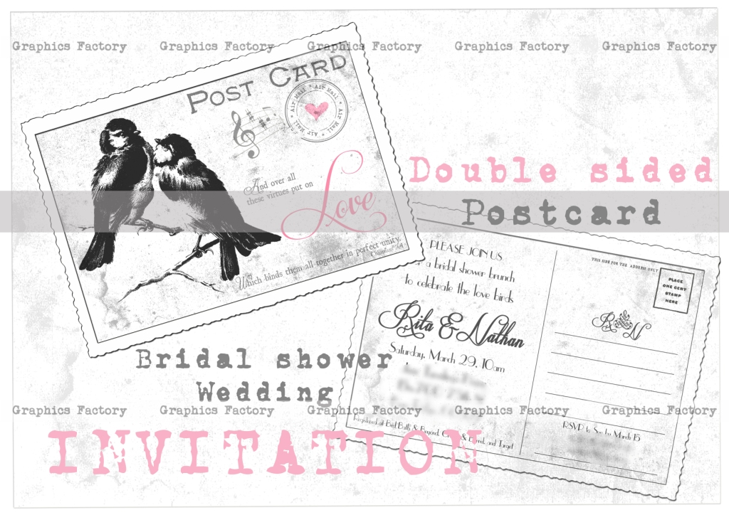 ... Bridal Shower Postcard Invitation Vintage Wedding Postcard Invitation