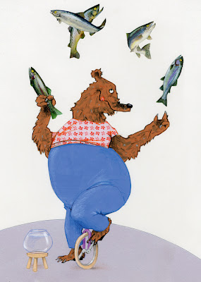 illustration of a salmon juggling circus bear by robert wagt