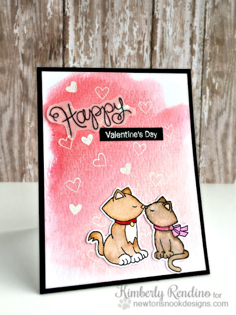 watercolor Valentine's Day card | kimpletekreativity.blogspot.com | Newton's Nook | Faber Castell gelatos | papercrafts | cardmaking