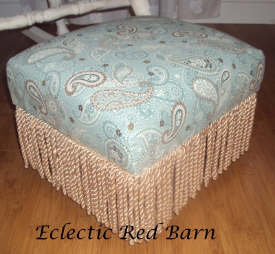Eclectic Red Barn: Refinished foot stool in paisley fabric