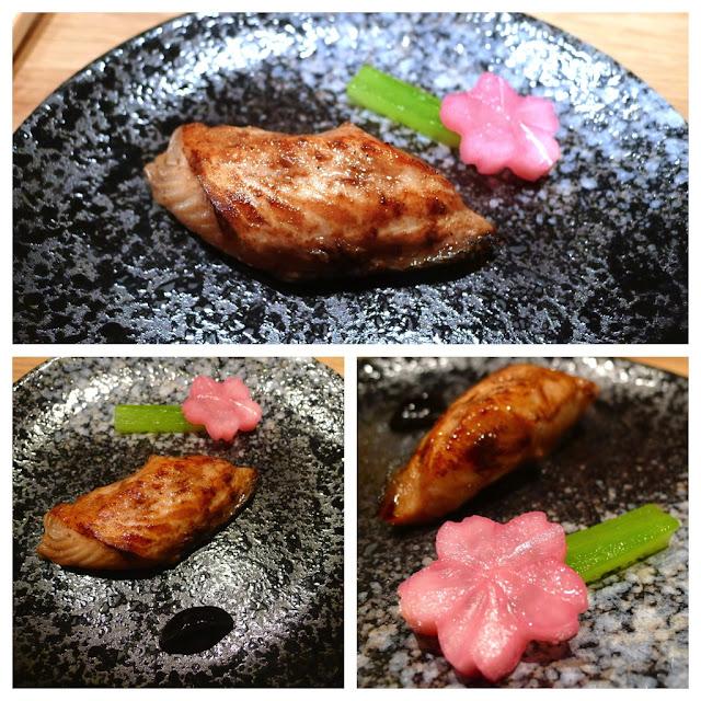 Grilled Black Cod marinated in Black Garlic.