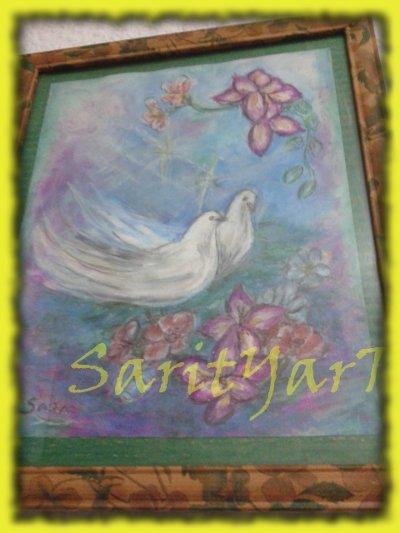 palomas pintadas con ceras blandas