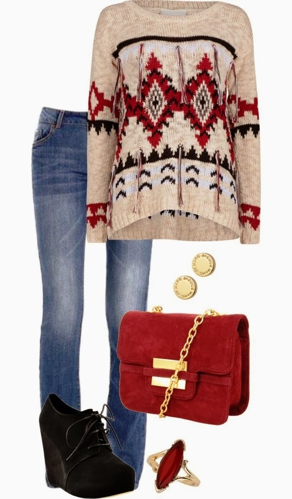 Stylish sweater, jeans, handbag and high heel black shoes for fall