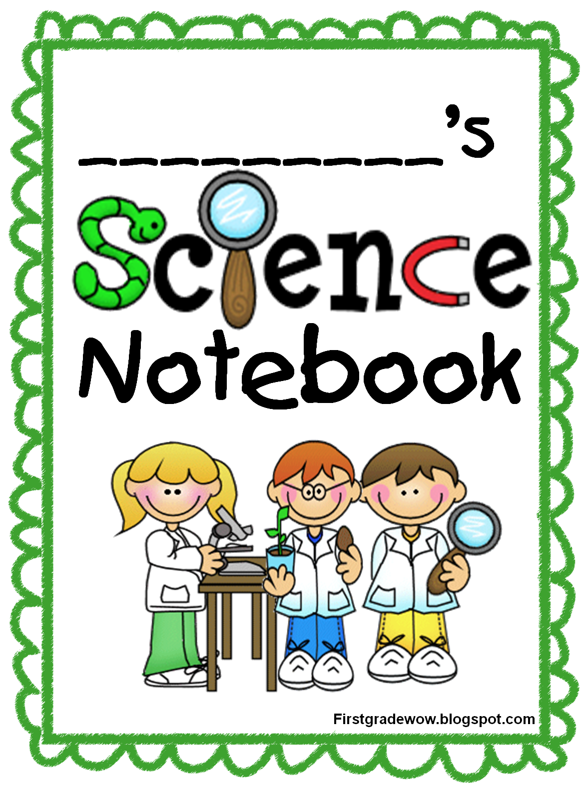 Science School Book Cover : First grade wow science notebook