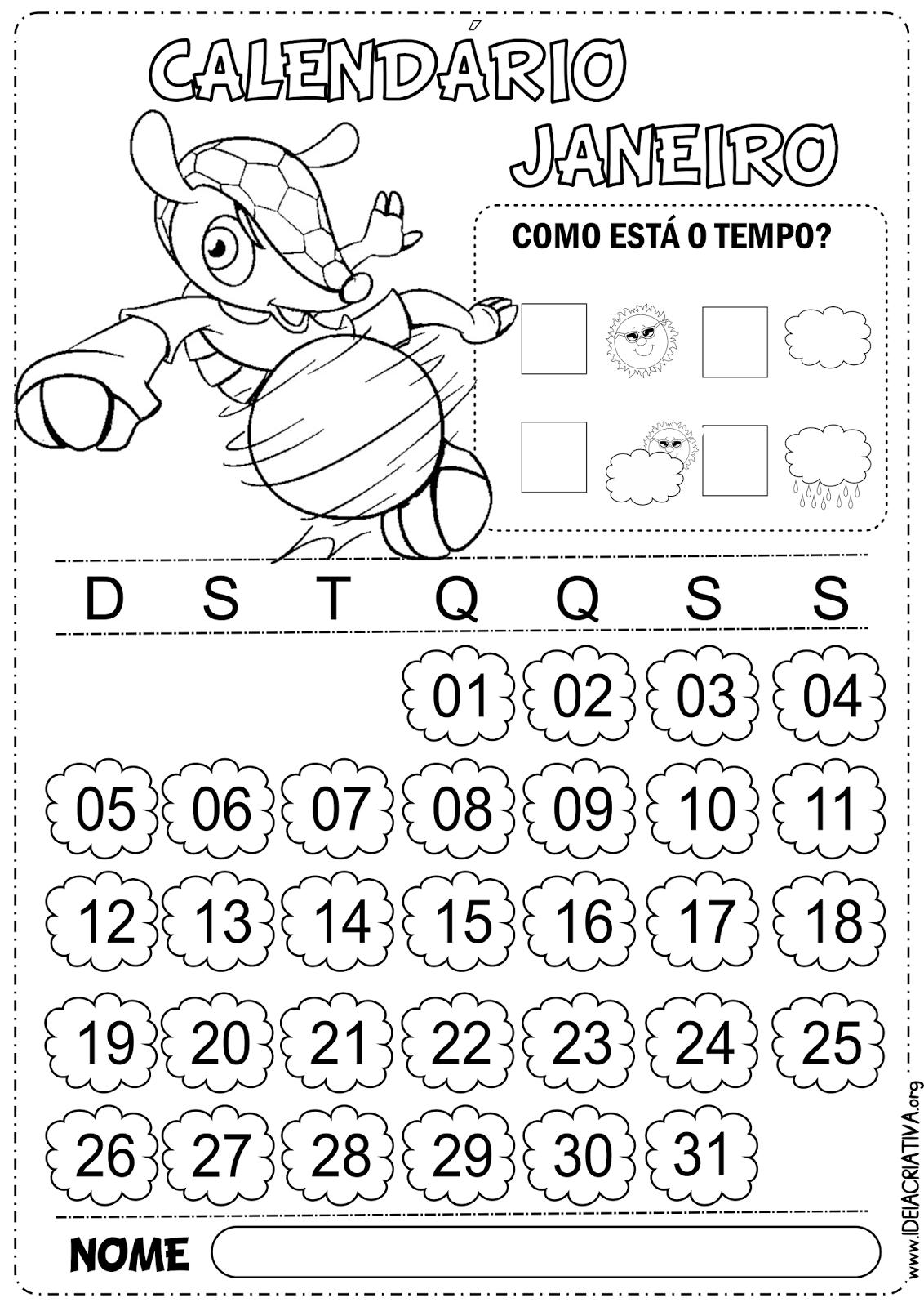 Calendário Copa do Mundo Janeiro