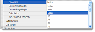 Select the page size for your email export operation.