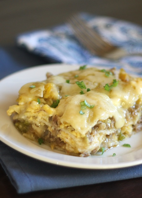Scrambled Egg and Sausage Stacked Enchiladas recipe by Barefeet In The Kitchen