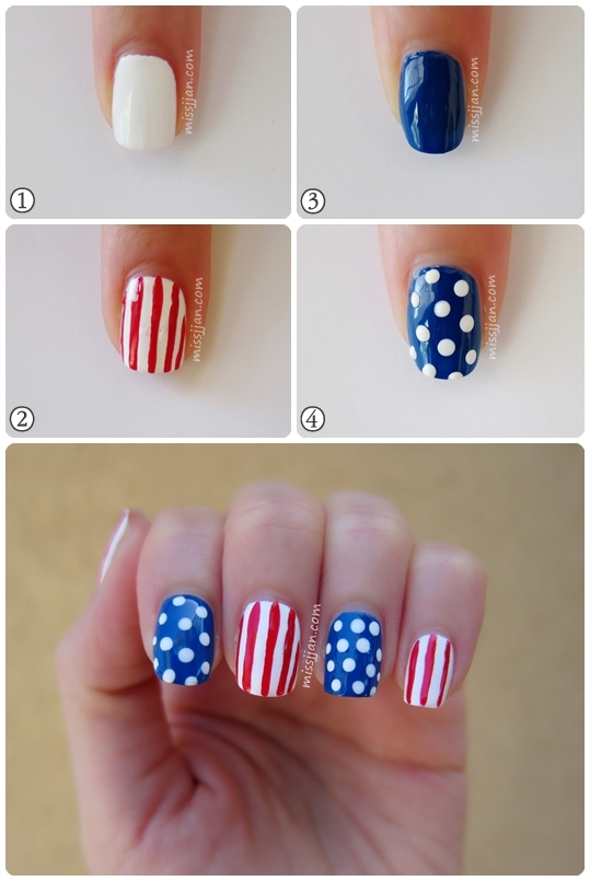 Missjjans Beauty Blog Usa Red White Blue Nail Art