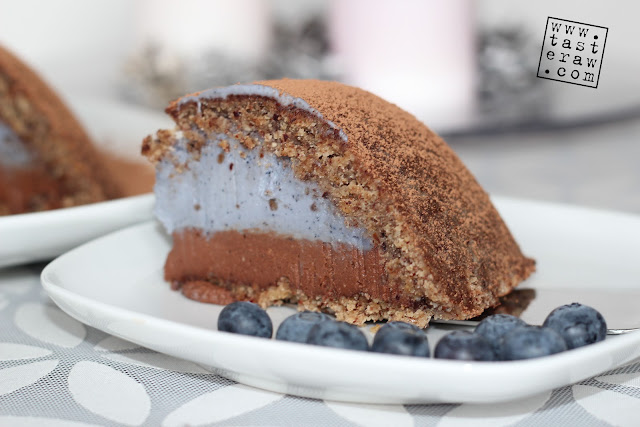 raw, presno, cake, torta, chocolate, čokolada, borovnice, blueberries