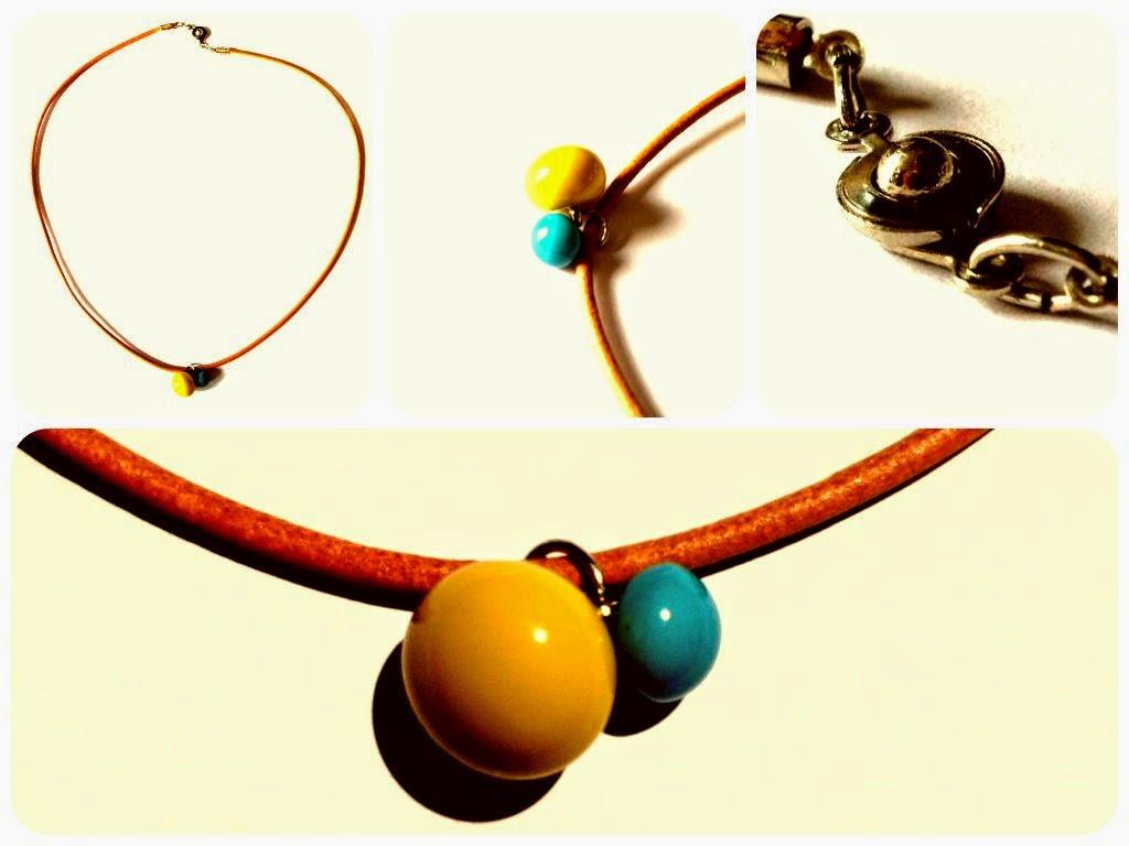Collier cuir et boutons de bottines LA DROGUERIE