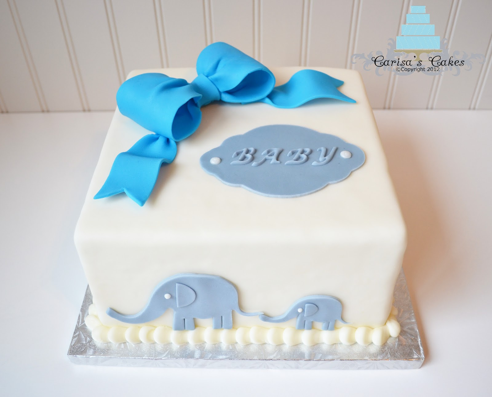 cake baby shower cake hand cut mommy and baby elephants