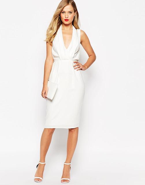 white plunge dress,