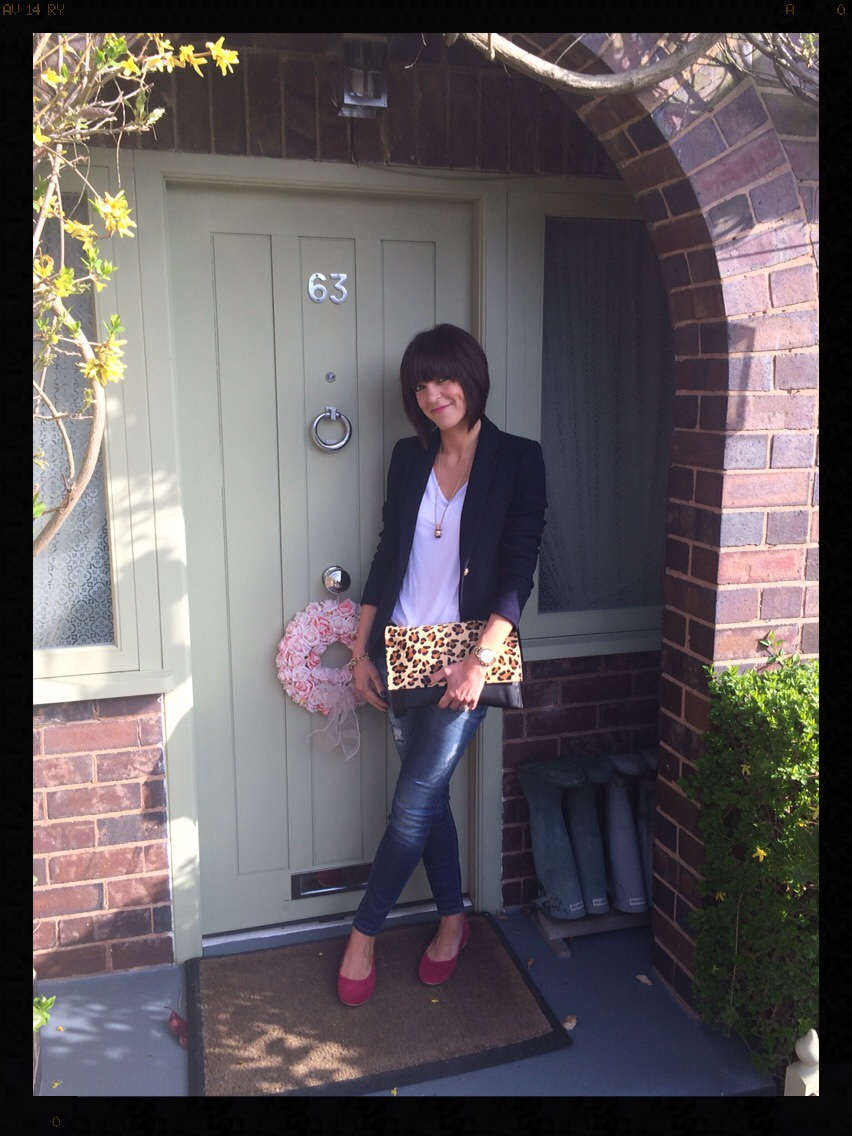 My Midlife Fashion, Zara, British Flat Shoe Company, Mango, Eternal Collection, Blazer, white t-shirt, skinny jeans, leopard print bag, animal print bag, pink ballet flats, ballet shoes