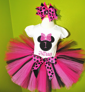 Black n Hot Pink Minnie Mouse Birthday Tutu Set