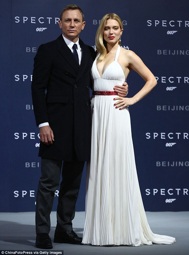 Lea Seydoux bares cleavage at the 'Spectre' premiere in Beijing