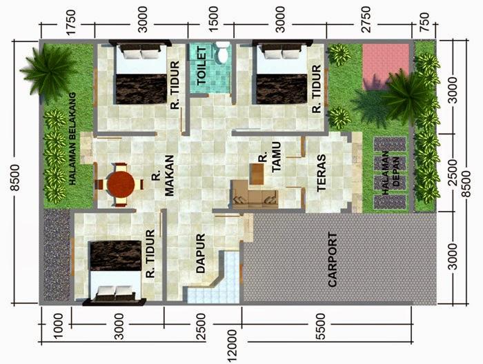 sketsa rumah sederhana dengan 3 kamar tidur