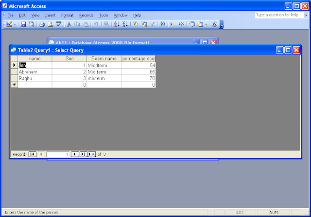 Write a query in ms access