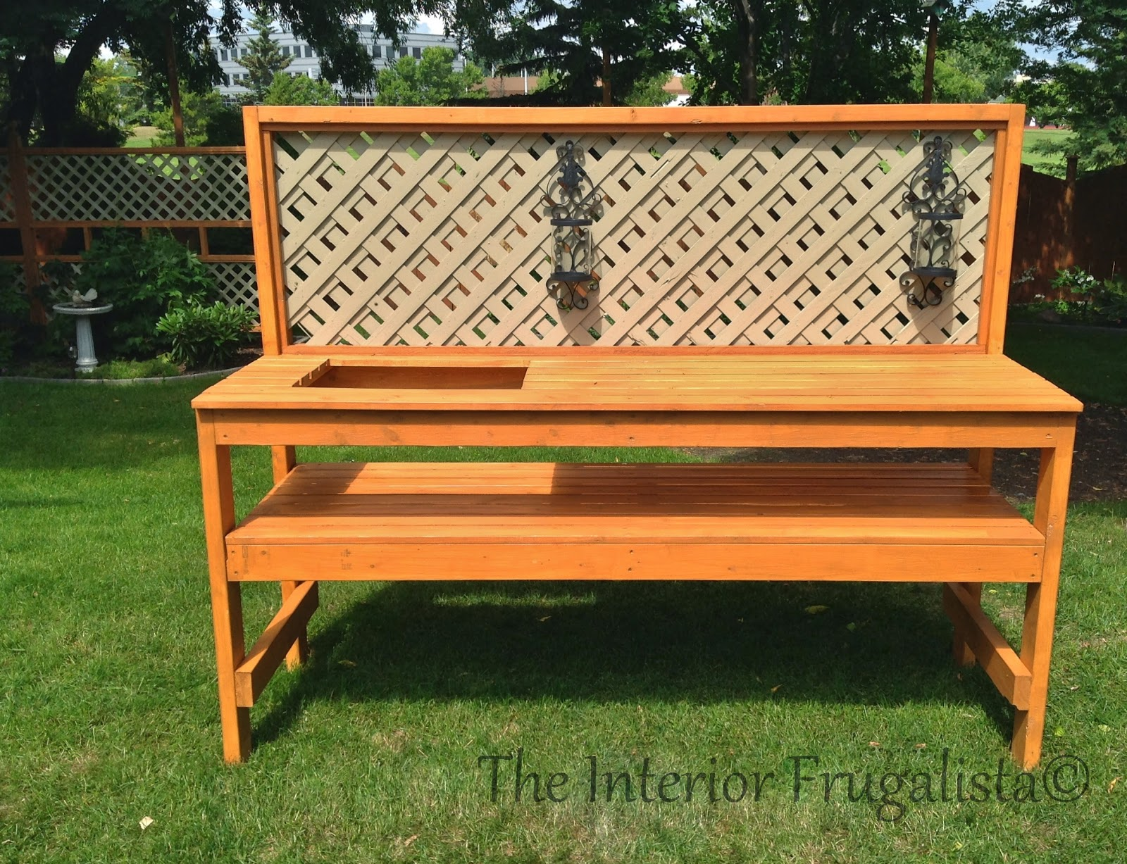 Easy DIY potting bench and outdoor bar After stained