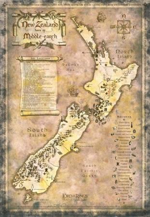 Mapa de la Tierra Media en Nueva Zelanda