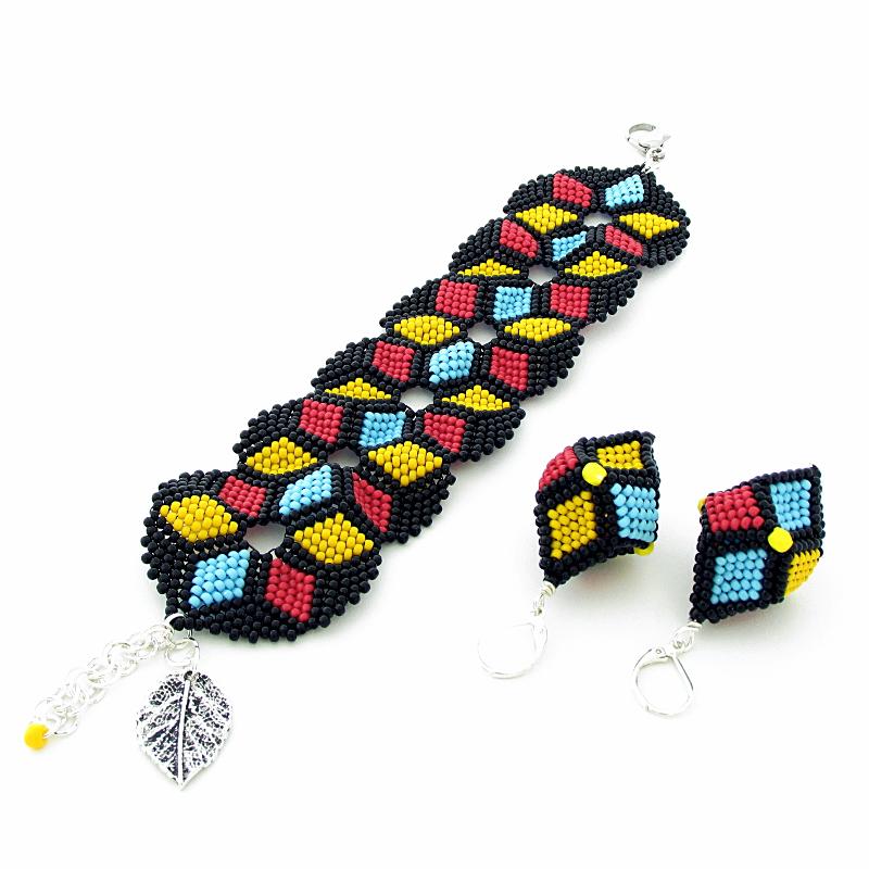 Bracelet Peyote Yellow,Blue,Red