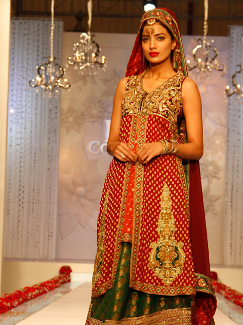 Pakistani bridal lehnga long shirt latest bridal fashion.