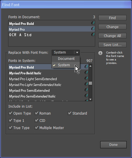 Show system fonts in Find Font dialog
