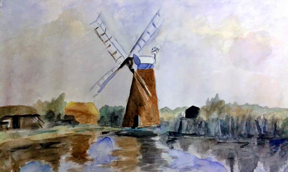 watercolor molino junto al agua