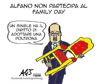 Alfano, family day, famiglia tradizionale, poltrone, incarichi, satira vignetta