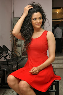 Actress Saiyami Kher  Pictures in Red Short Dress at Rey Movie Trailer Launch  0128