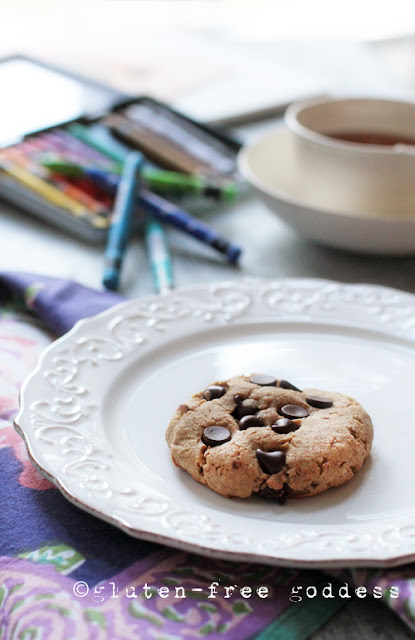 Gluten-free almond butter chocolate chip cookie @ the Gluten-Free Goddess.