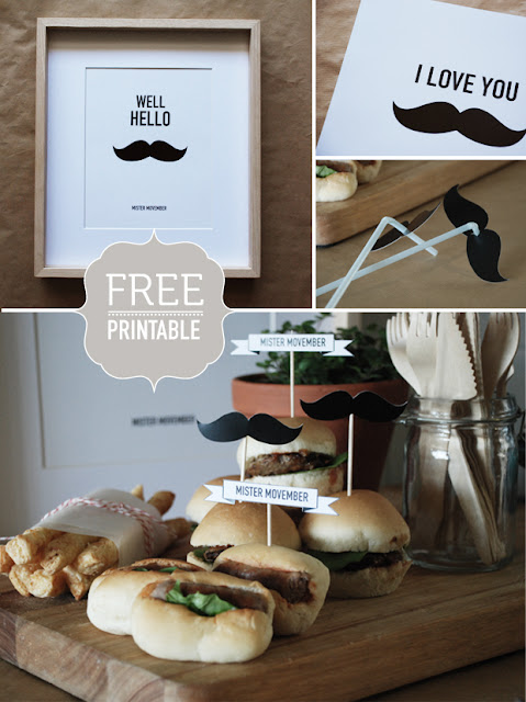 Movember printables moustache/Mustache Bash party ideas