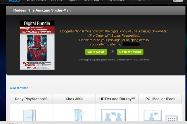 Vudu The Amazing Spider-Man Blu-Ray DVD Pre-Order Redemption