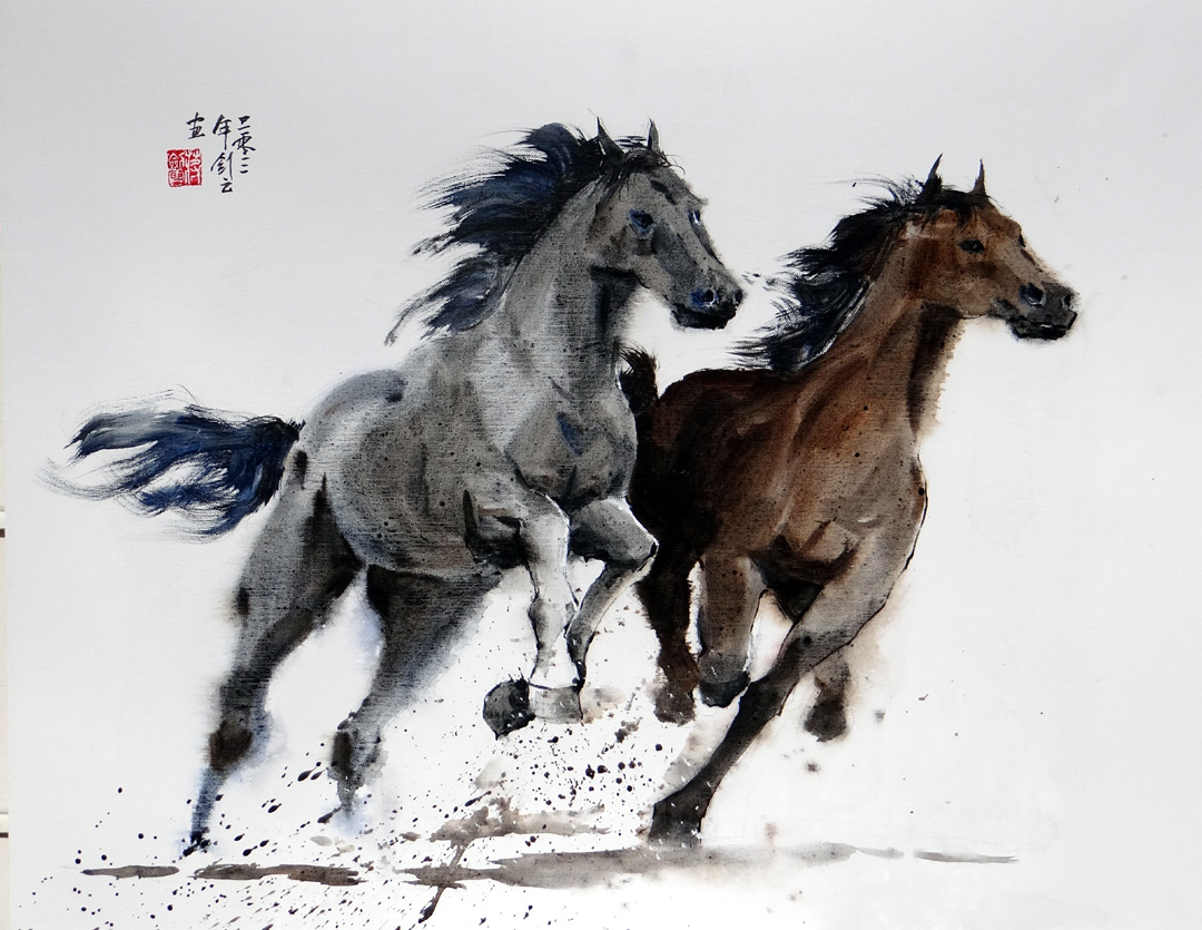 famous chinese horse painting Cat chicken dog dragon horse panda rabbit tiger zodiac  when you can grace your space with a magnificent oil painting reproduction of famous  chinese painting.
