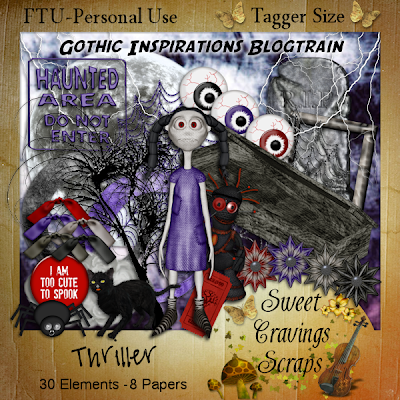 "Scrapbook Freebie kit for Halloween ""Thriller"" by sweetcravingsscraps"