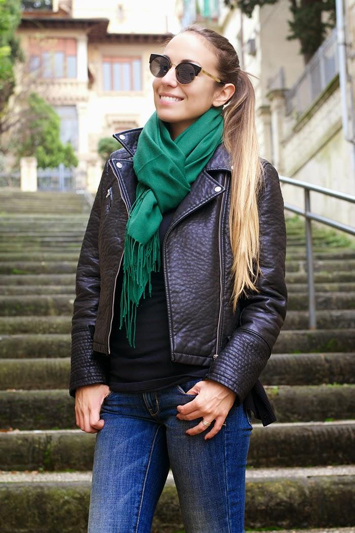 giacca pelle pashmina verde