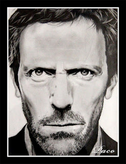 portrait de Hugh Laurie par paco illustrateur graphiste artiste pentre