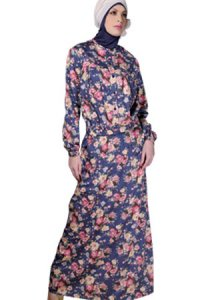 Manet Gamis - 3190 Biru Bunga (Toko Jilbab dan Busana Muslimah Terbaru)